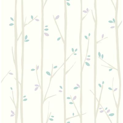 Kids Tree Top Gray, Lilac and Sky-Blue Wallpaper