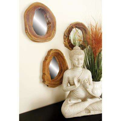 10 in. x 10 in. Natural Teak-Framed Round Wall Mirrors (Set of 4)