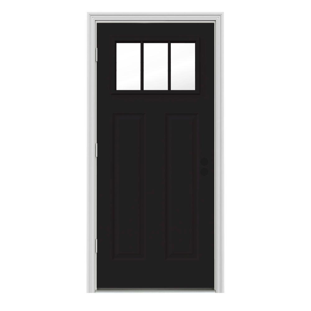 JELD-WEN 30 in. x 80 in. 3 Lite Craftsman Black w/ White Interior Steel Prehung Right-Hand Outswing Front Door w/Brickmould
