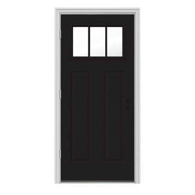 34 in. x 80 in. 3 Lite Craftsman Black w/ White Interior Steel Prehung Right-Hand Outswing Front Door w/Brickmould