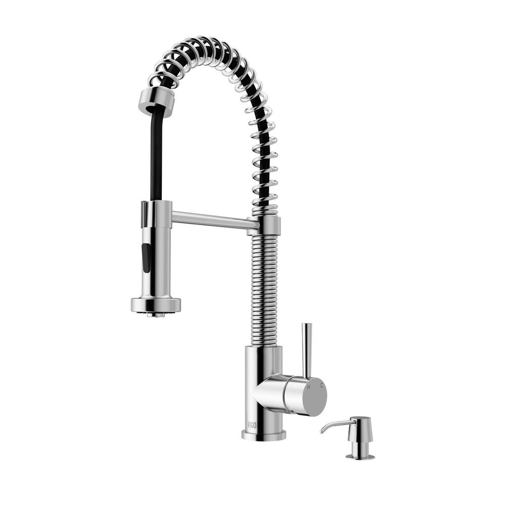 Vigo single handle pull out sprayer kitchen faucet with for Faucet soap dispenser placement