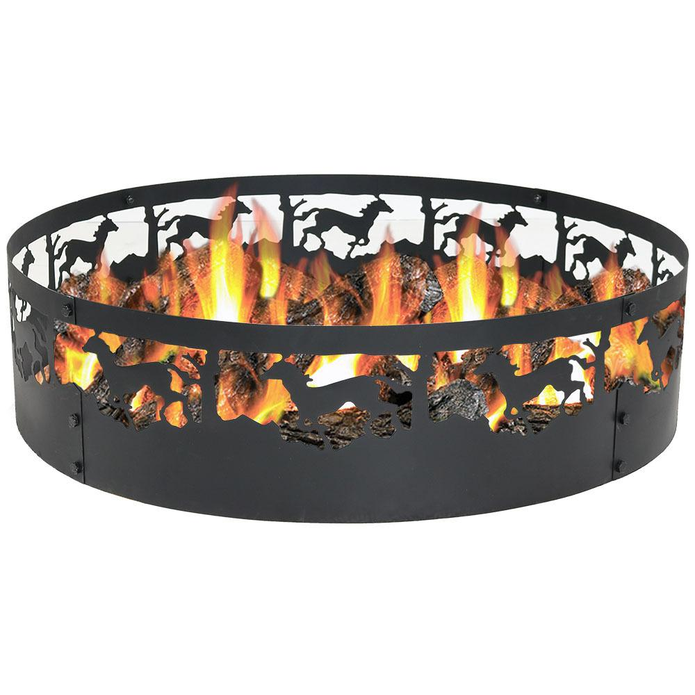 36 in. Round Steel Wood Burning Running Horse Fire Pit Kit