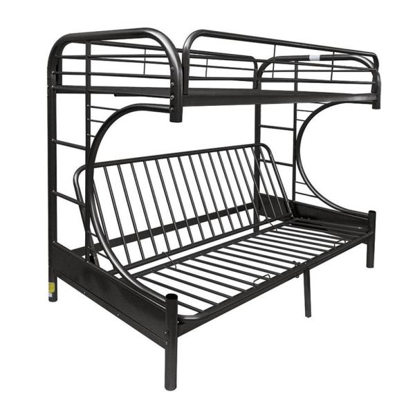 William's Home Furnishing Black Opal Metal Twin Bed with Futon Base
