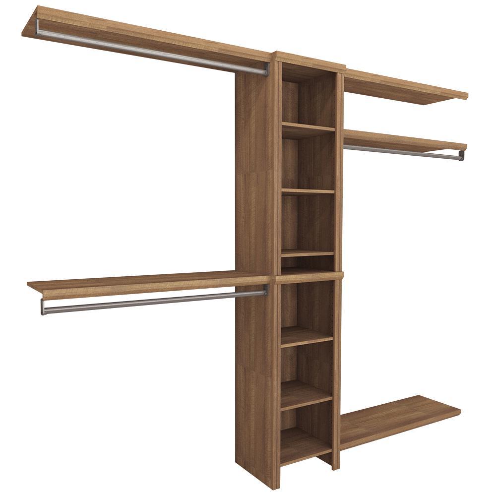Impressions Basic 48 in. W - 108 in. W Walnut Wood Closet System