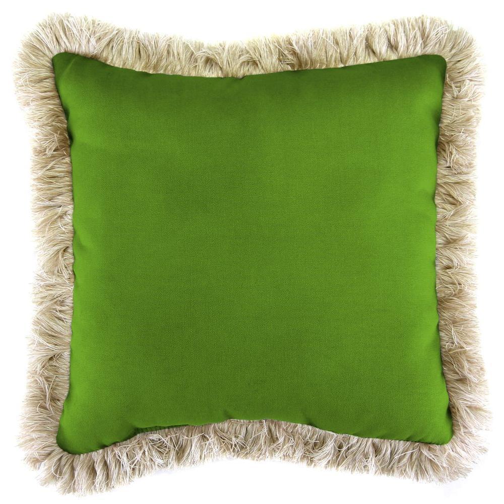 Sunbrella Spectrum Cilantro Square Outdoor Throw Pillow with Canvas Fringe