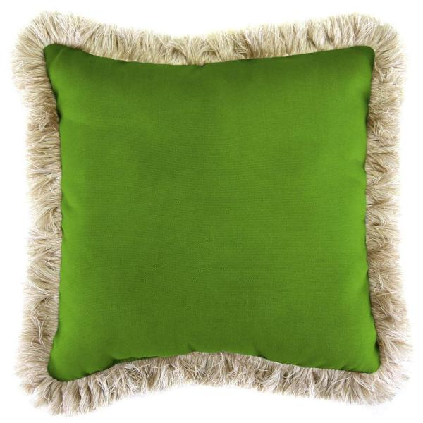 Sunbrella Spectrum Cilantro Square Outdoor Throw Pillow with Canvas Fringe