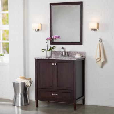 Claxby 31 in. W x 22 in. D Bathroom Vanity in Chocolate with Stone Effect Vanity Top in Mineral Gray with White Sink