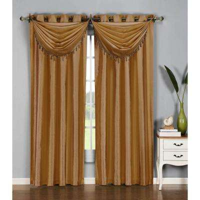 Semi-Opaque Jane Faux Silk 54 in. W x 84 in. L Grommet Extra Wide Curtain Panel in Gold