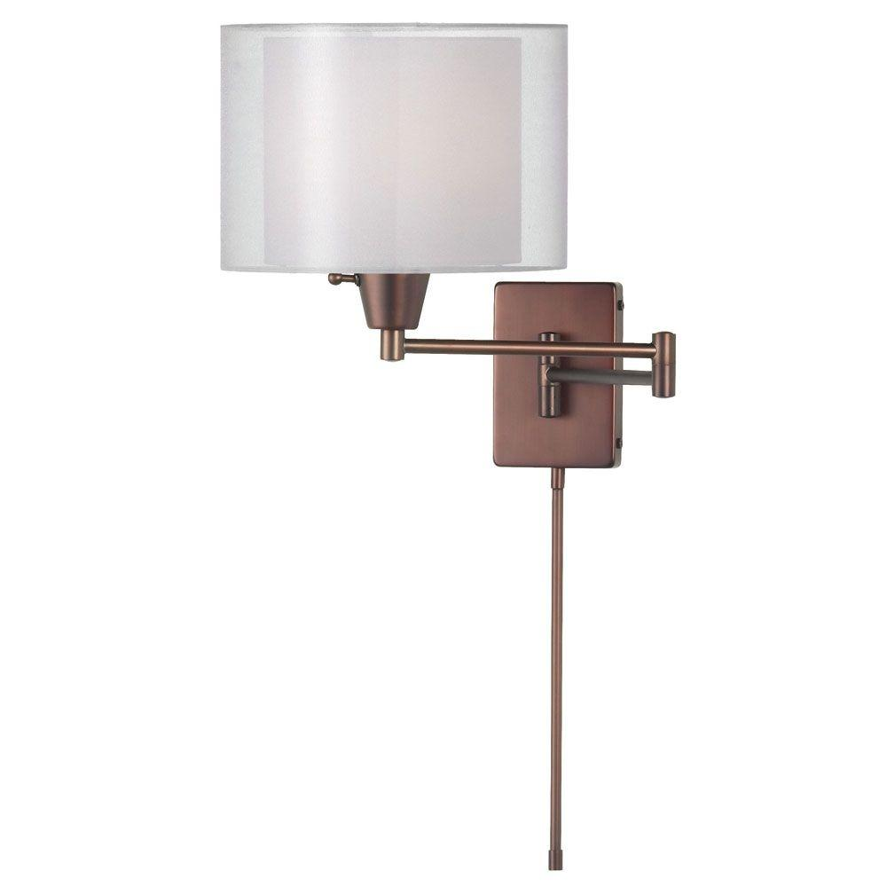 Filament Design Catherine 1 Light CFL Oil Brushed Bronze Wall Lamp with White Linen Shades