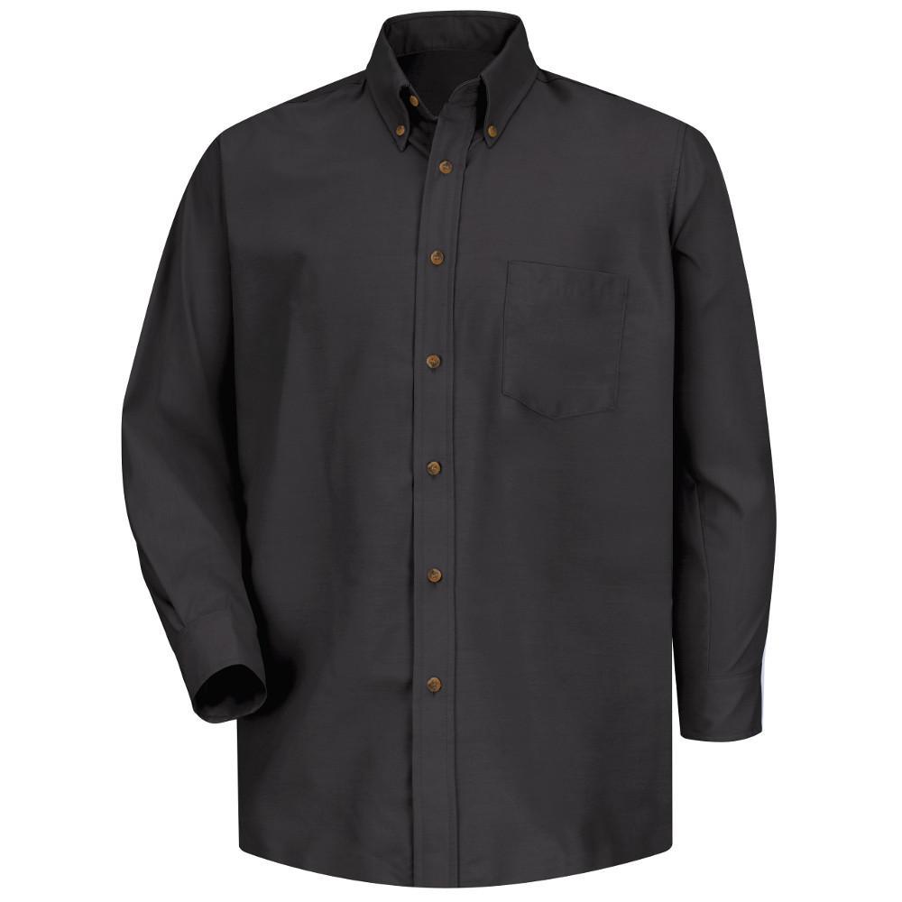 Red Kap Mens Size 3xl X 3637 Black Poplin Dress Shirt Sp90bk 3xl