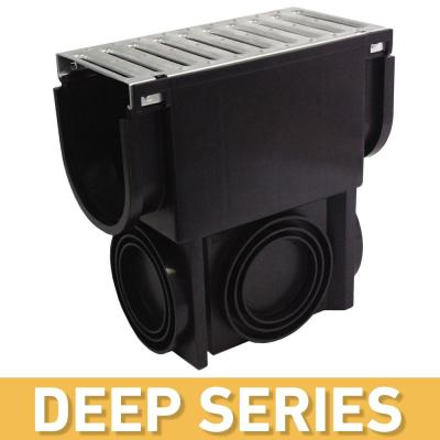Deep Series Slim Drainage Pit and Catch Basin for Modular Trench and Channel Drain System w/ Galvanized Steel Grate