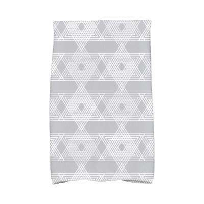 16 in. x 25 in. Gray Star Light Holiday Geometric Print Kitchen Towel