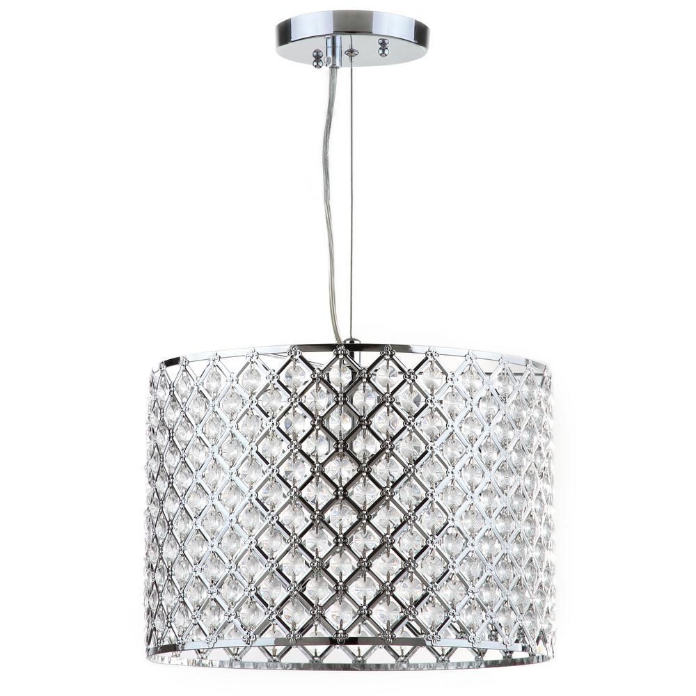 Silva 1-Light Chrome/Clear Beaded Diamond Drum Pendant