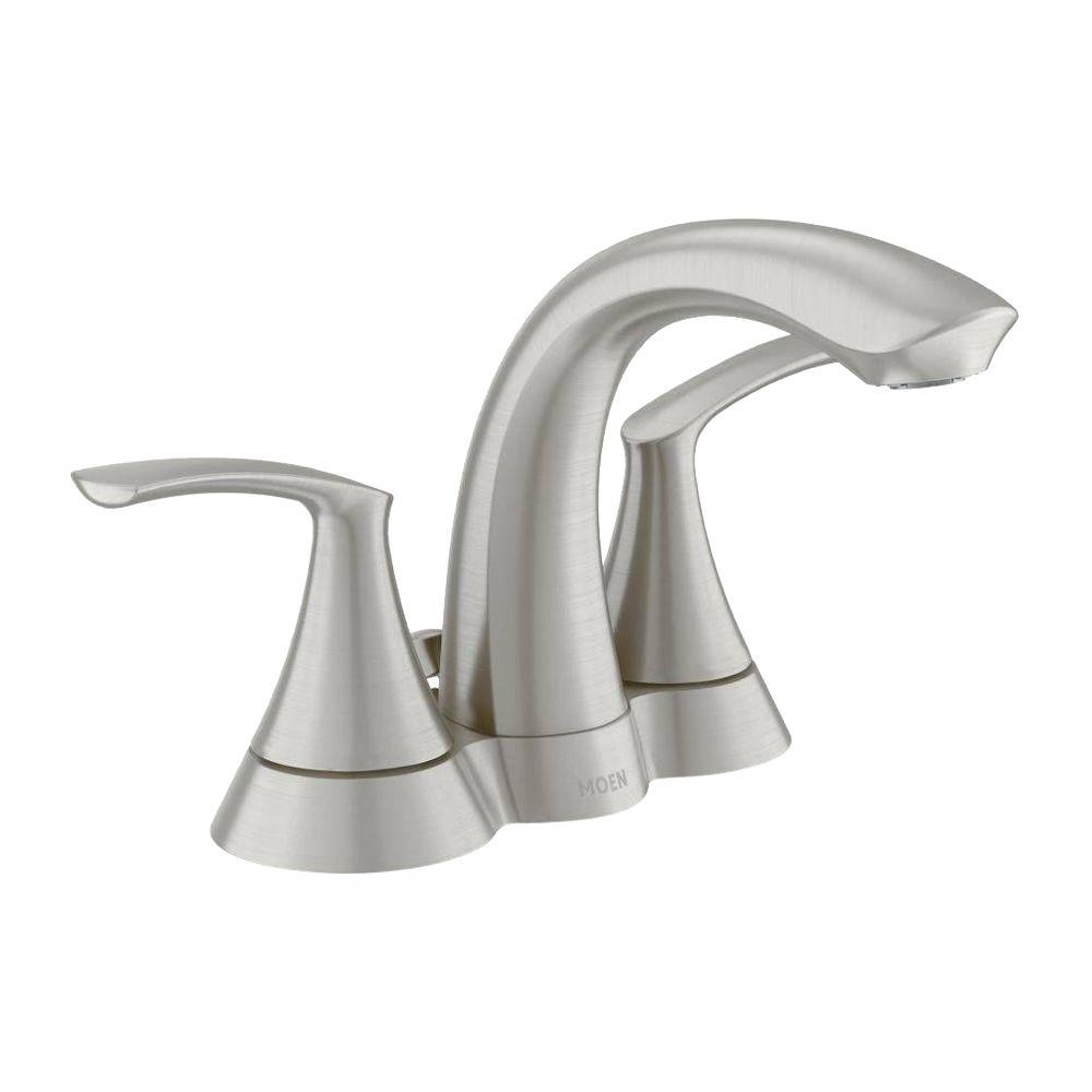 MOEN Darcy 4 in. Centerset 2-Handle Bathroom Faucet in Spot Resist Brushed  Nickel