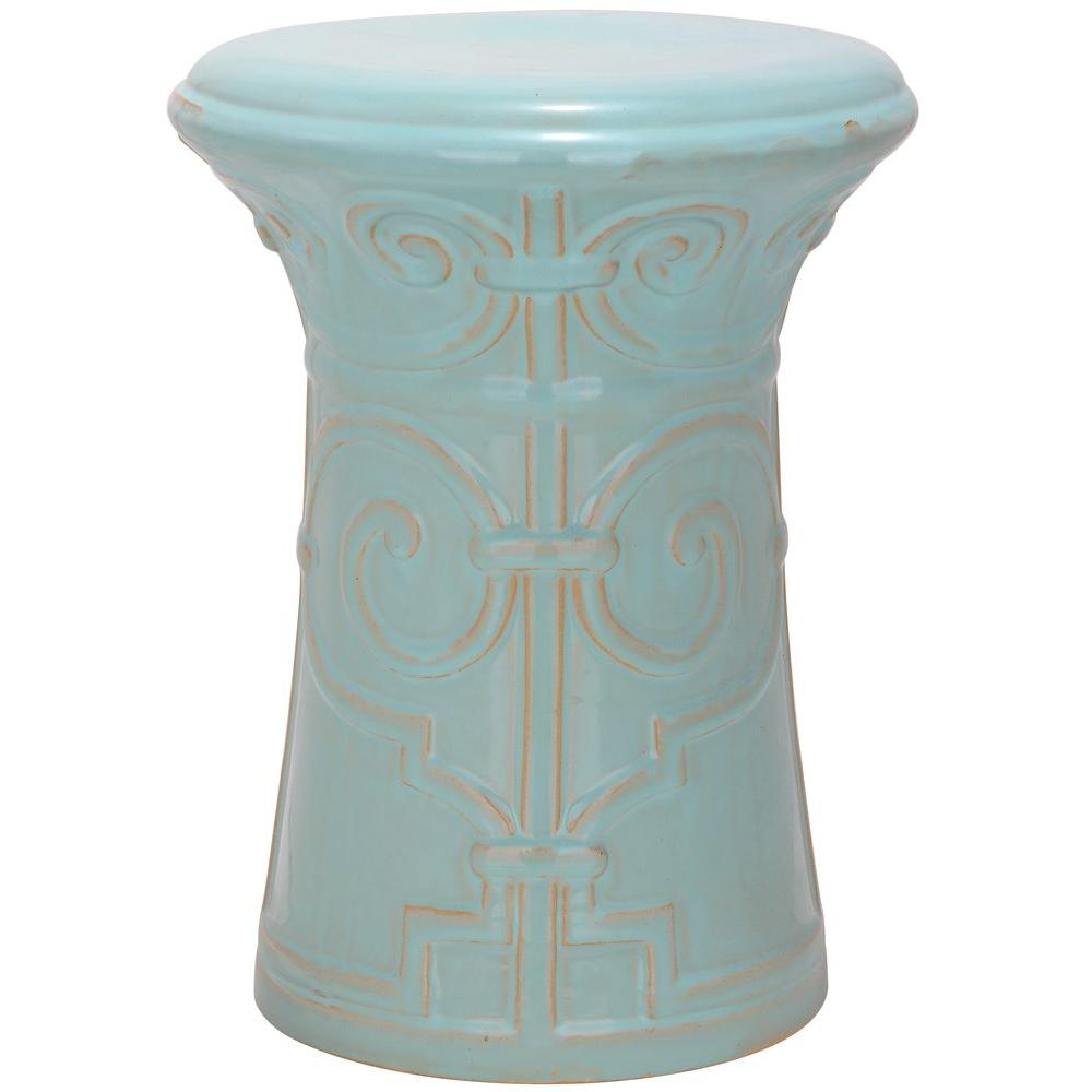 Bon Safavieh Imperial Scroll Light Aqua Garden Patio Stool