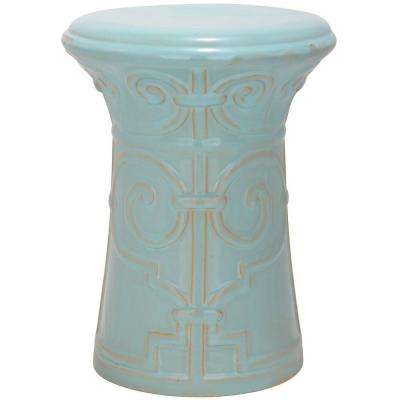 Imperial Scroll Light Aqua Garden Patio Stool