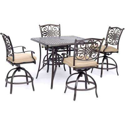 Traditions 5-Piece Aluminum Outdoor High Dining Set with Tan Cushions 4-Sling Swivel Chairs and Square Cast-Top Table