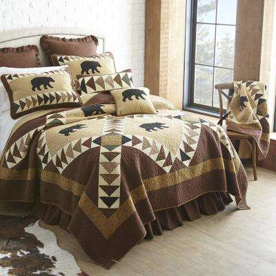 Woodcut Bear Brown, Beige and Black Quilted Throw