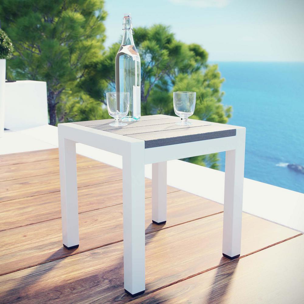 Shore Patio Aluminum Outdoor Side Table in Silver Gray