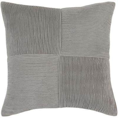 Leake Grey Solid Polyester 18 in. x 18 in. Throw Pillow
