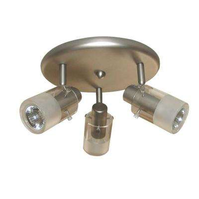 3-Light Brushed Steel Ceiling-Mount Round Light Fixture