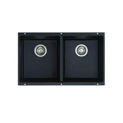 Precis Undermount Granite Composite 29.75 in. Equal Double Bowl Kitchen Sink in Anthracite