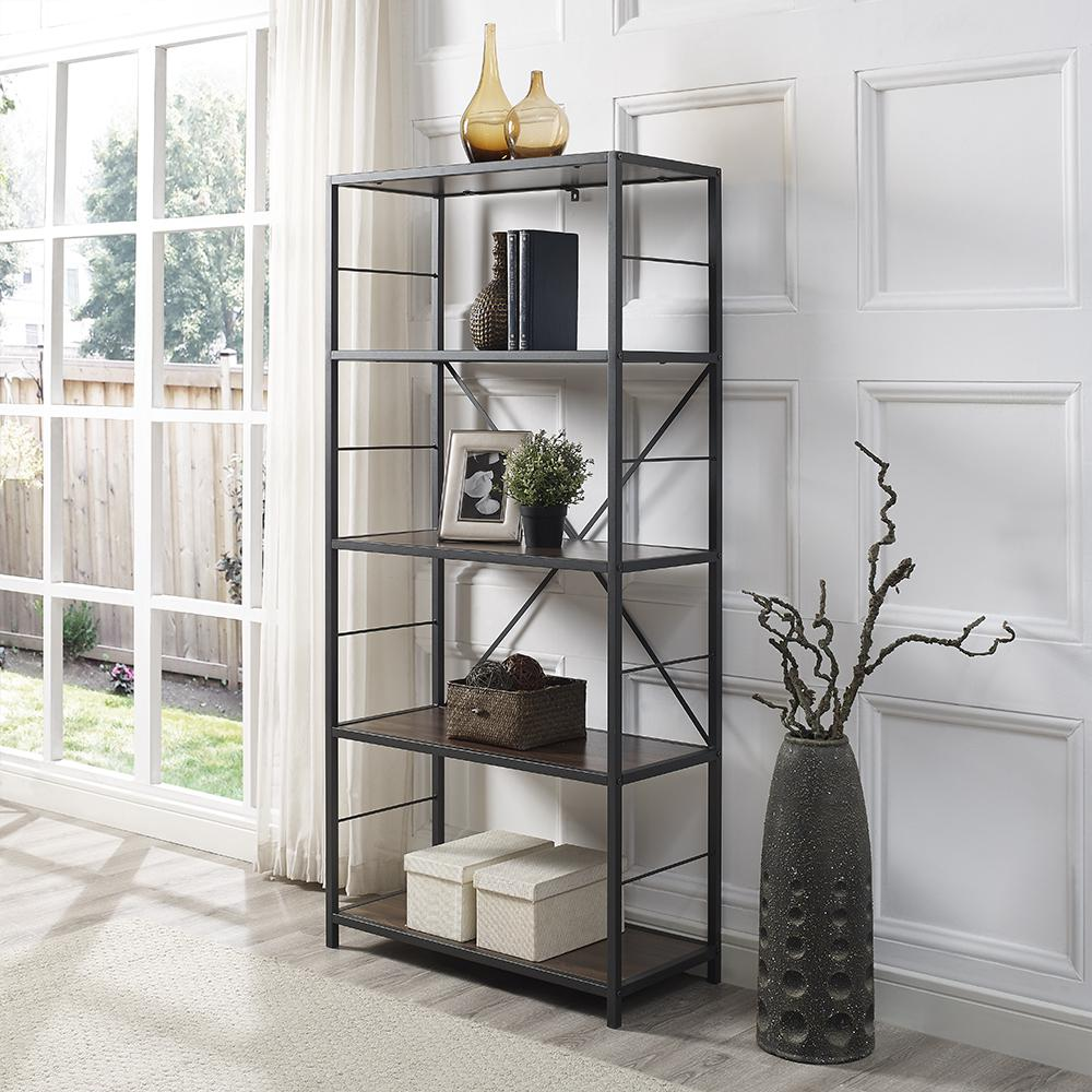 Walker Edison Furniture Company Dark Walnut Rustic Metal And Wood Media Bookshelf