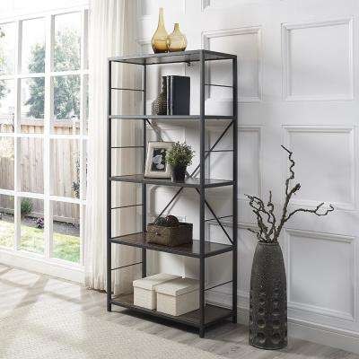 Dark Walnut Rustic Metal and Wood Media Bookshelf