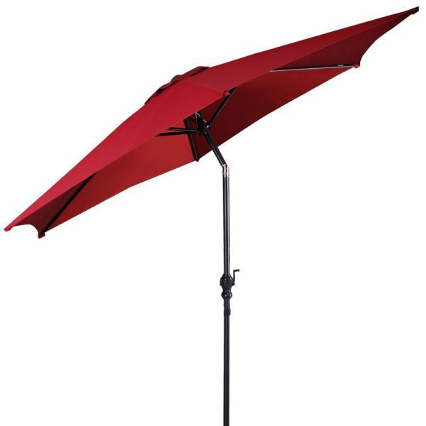 9 ft. Cantilever Outdoor Patio Umbrella with Crank in Burgundy