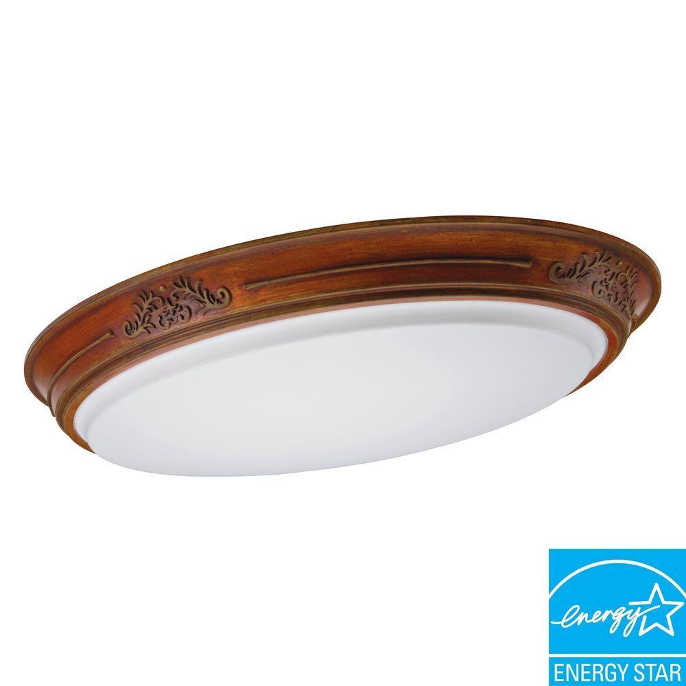 Lithonia Lighting Heritage 2-Light Amber-Walnut Fluorescent Ceiling-Mount Fixture