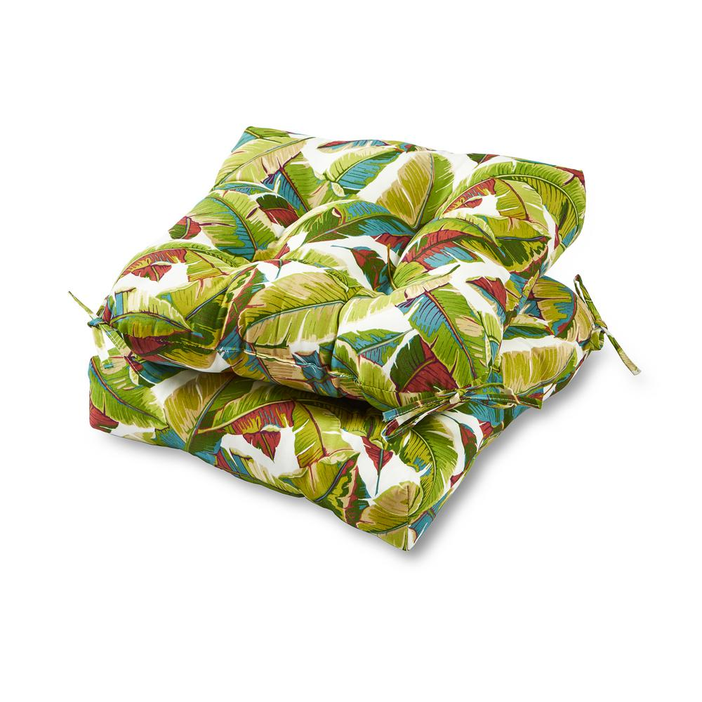 Greendale Home Fashions Palm Leaves Multi Square Tufted Outdoor Seat Cushion (2-Set)