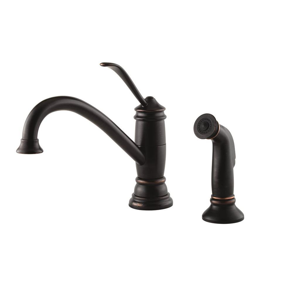 Pfister Brookwood Single Handle Standard Kitchen Faucet With Side Sprayer  In Tuscan Bronze