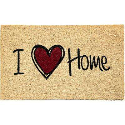 Aspen I Love Home Ivory 18 in. x 30 in. Door Mat