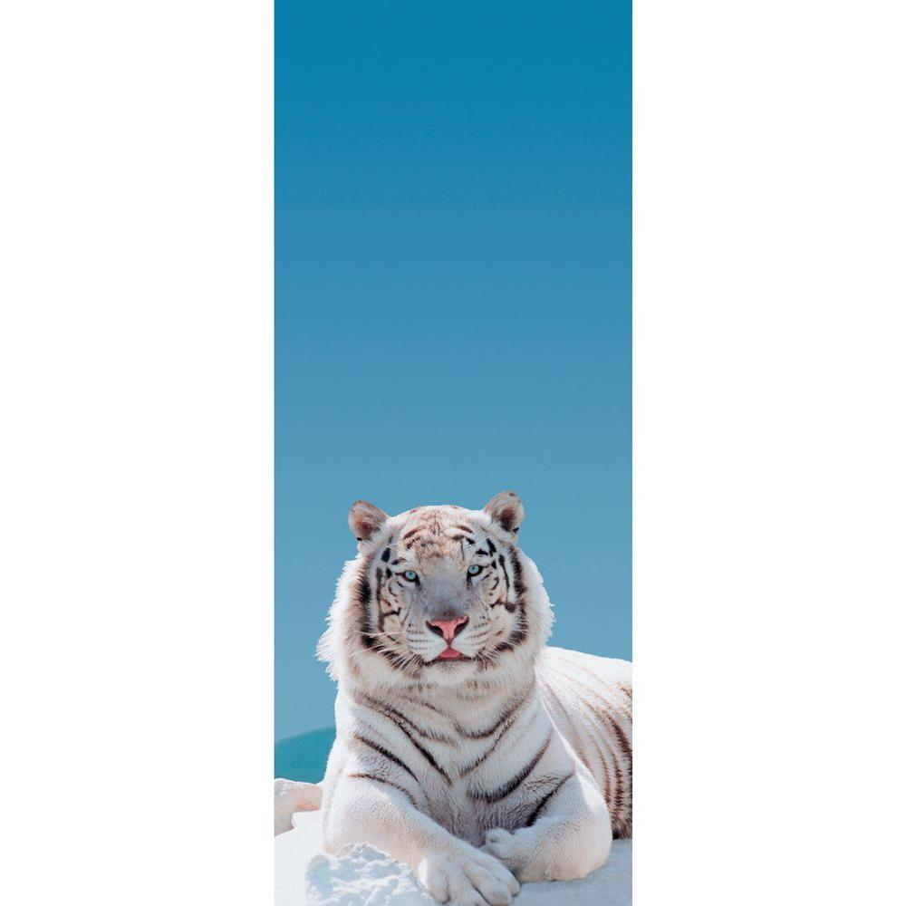 The Wallpaper Company 21.75 sq. ft. Panel White Tiger Wallpaper-DISCONTINUED