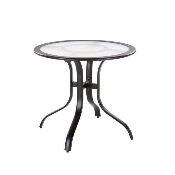 30 in. Commercial Aluminum Round Outdoor Patio Acrylic Top Bistro Table in Black