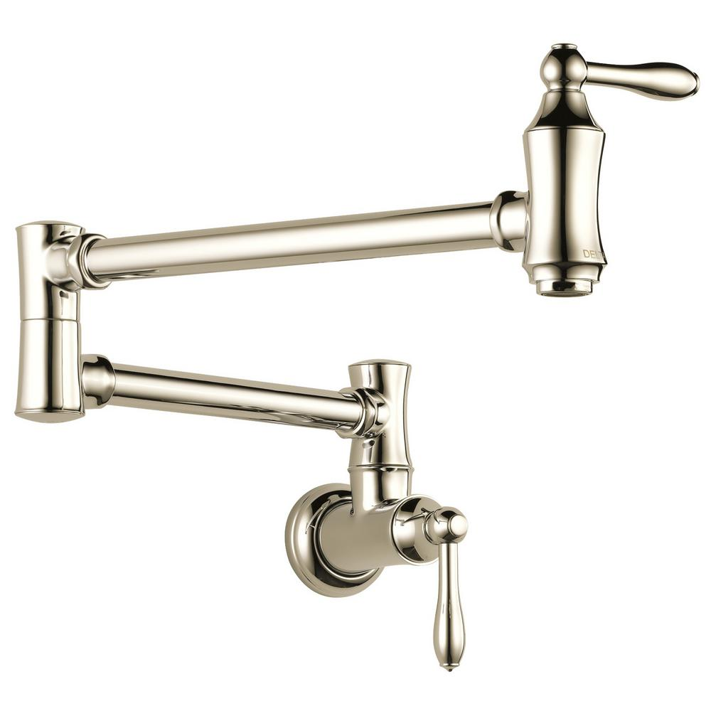 Delta Traditional Wall-Mounted Pot Filler in Polished Nickel