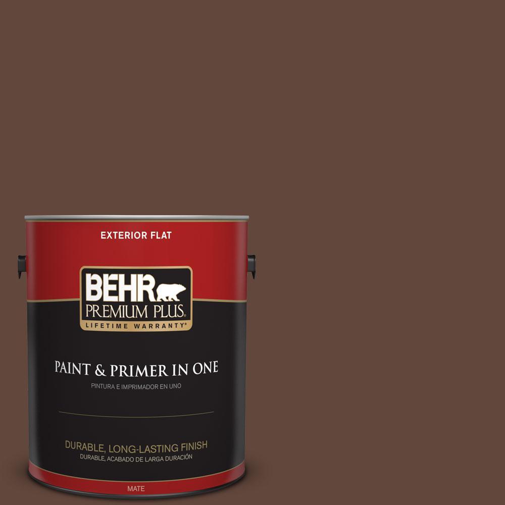 BEHR Premium Plus 1-gal. #S-G-760 Chocolate Coco Flat Exterior Paint