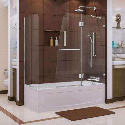 Aqua Lux 56 to 60 in. x 58 in. Semi-Framed Hinged Tub Door with Return Panel in Chrome