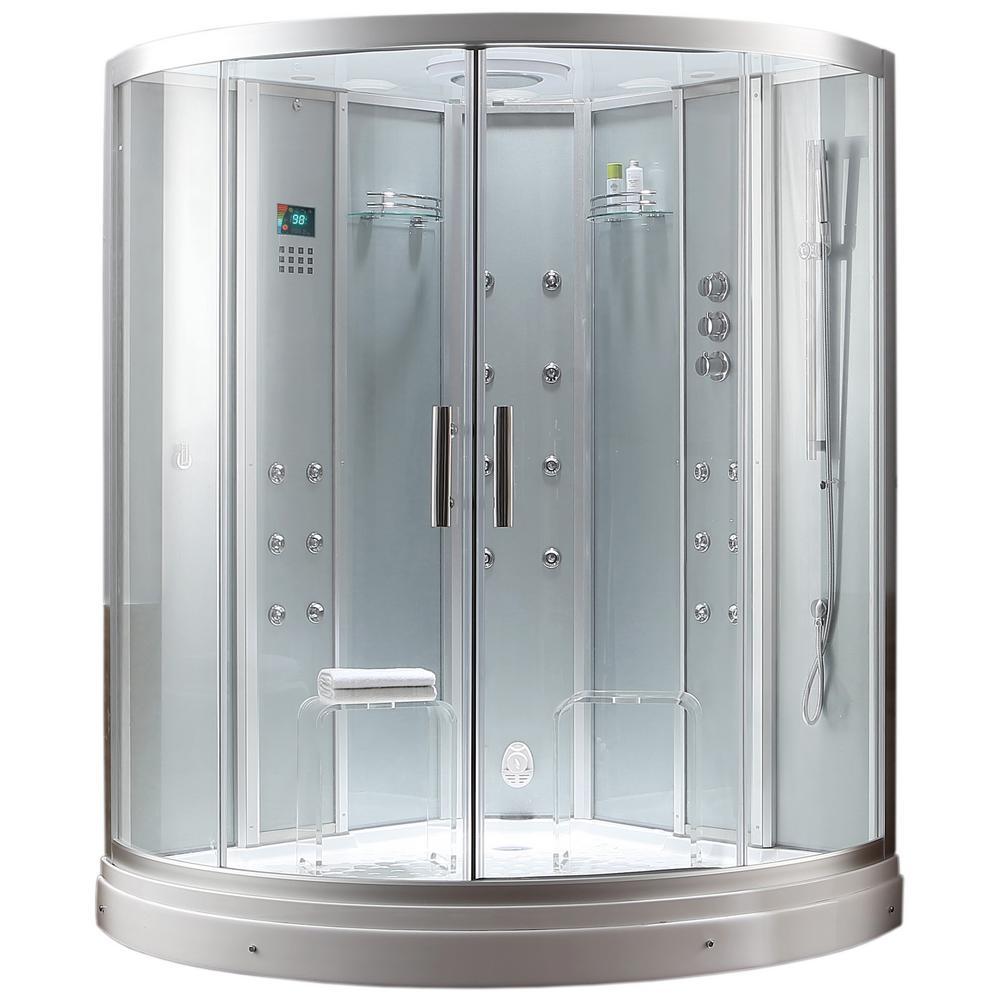 Ariel 59 in. x 59 in. x 88.6 in. Steam Shower Enclosure Kit in White