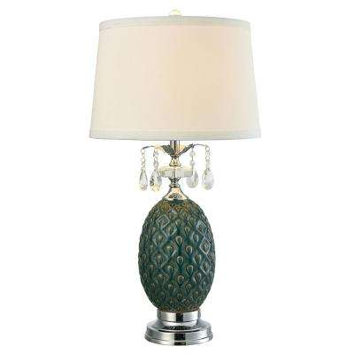 Maxie Crystal 29 in. Polished Chrome Table Lamp with Fabric Shade