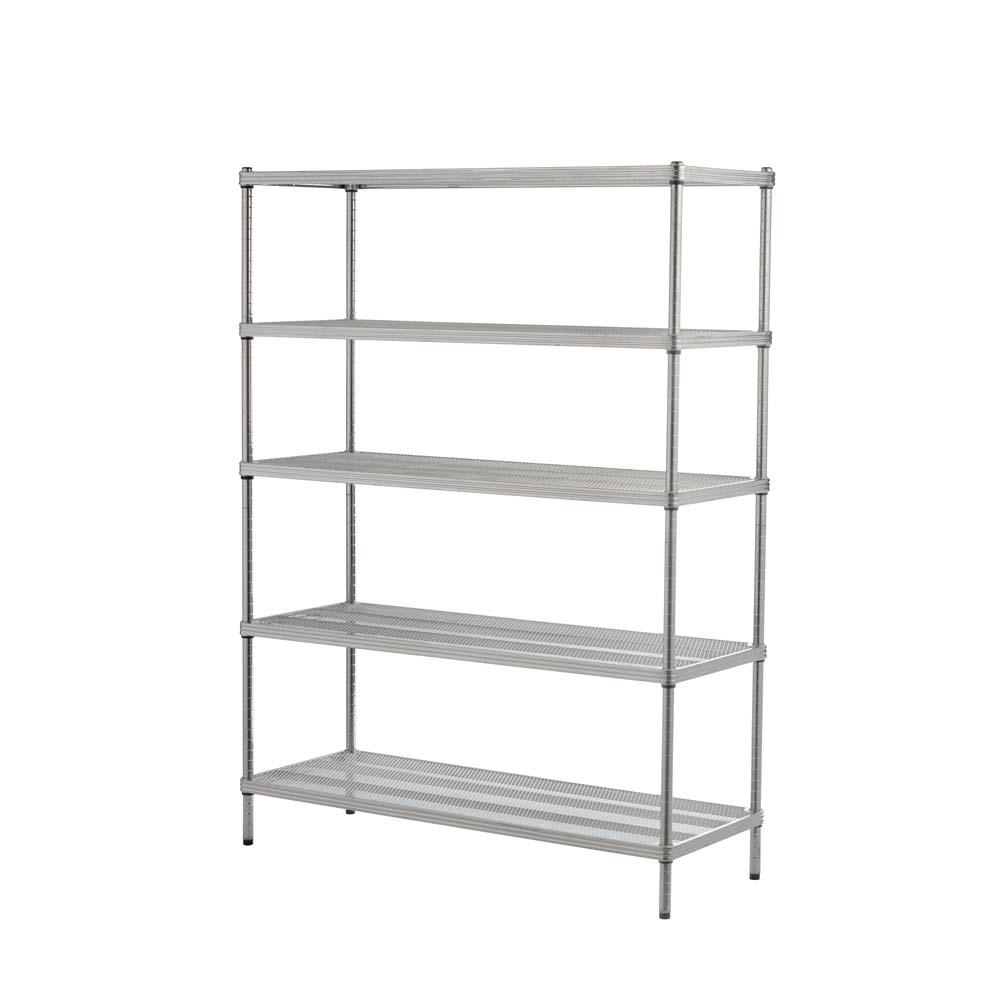 MeshWorks 5-Shelf Metal Silver Freestanding Shelving Unit