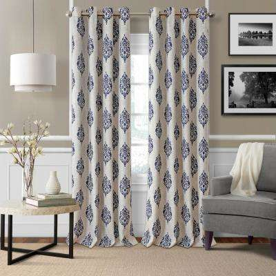 Navara Navy Single Blackout Window Curtain Panel - 52 in. W x 84 in. L