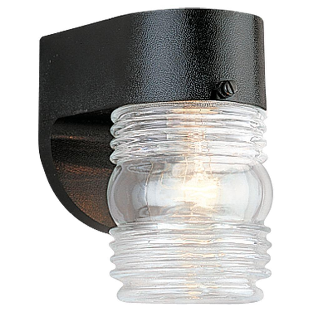 1-Light Black Outdoor Wall Fixture