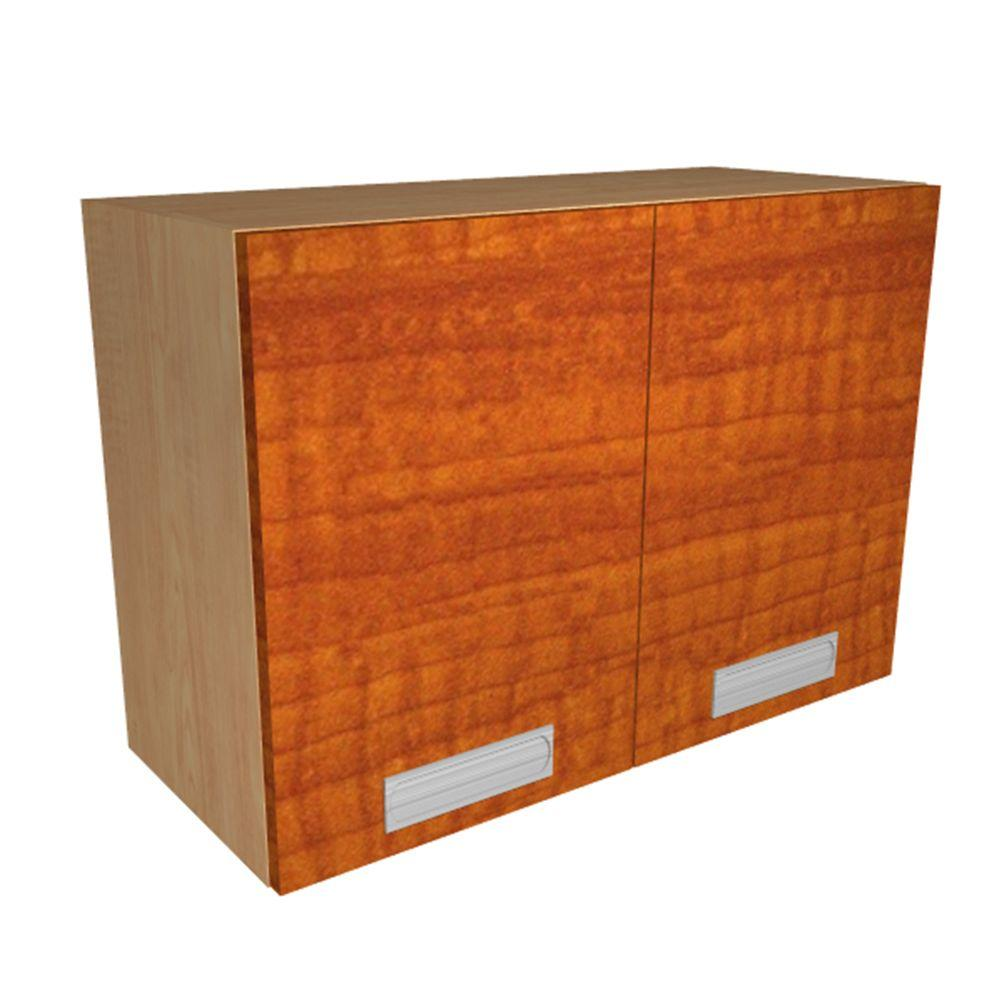 Home Decorators Collection Genoa Ready to Assemble 30 x 21 x 12 in. Wall Cabinet with 2 Soft Close Doors in Cognac, Cognac Melamine