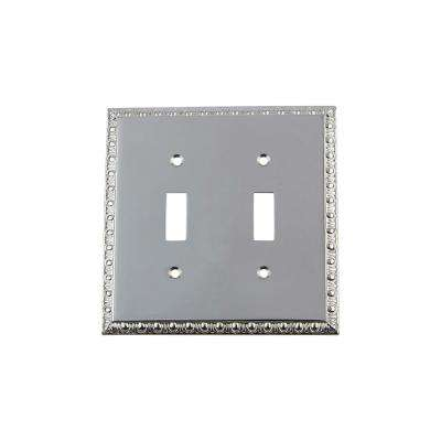 Egg and Dart Switch Plate with Double Toggle in Bright Chrome