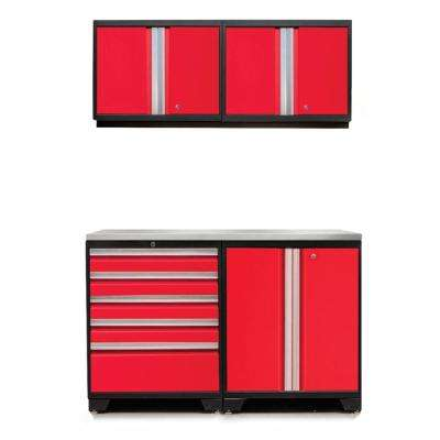 Pro 3.0 85 in. H x 56 in. W x 22 in. D 18-Gauge Welded Steel Stainless Steel Worktop Cabinet Set in Red (5-Piece)