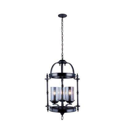 Tresor Collection 3-Light Antiqued Pewter Pendant with Elegant Clear Seeded Glass Shades