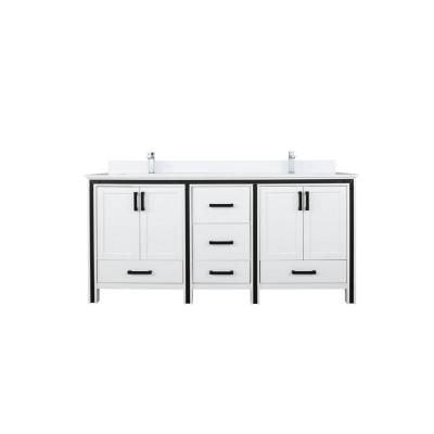 Ziva 72 in. W Double Bath Vanity in White with Marble Vanity Top in White Cultured, White Basins