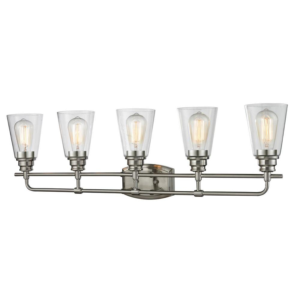 5 Light Bathroom Vanity Light: Filament Design Nina 5-Light Brushed Nickel Bath Vanity