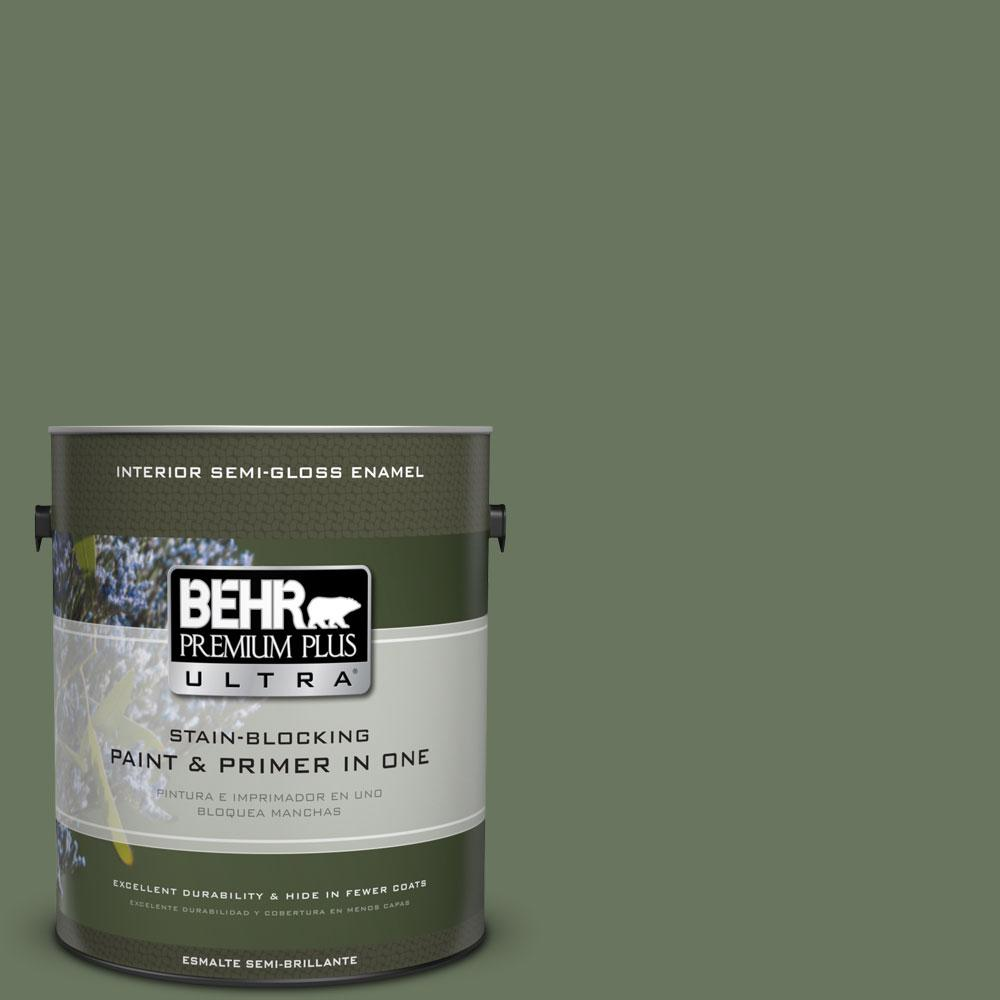 BEHR Premium Plus Ultra 1 gal. #440F-6 Old Vine Semi-Gloss Enamel Interior Paint and Primer in One